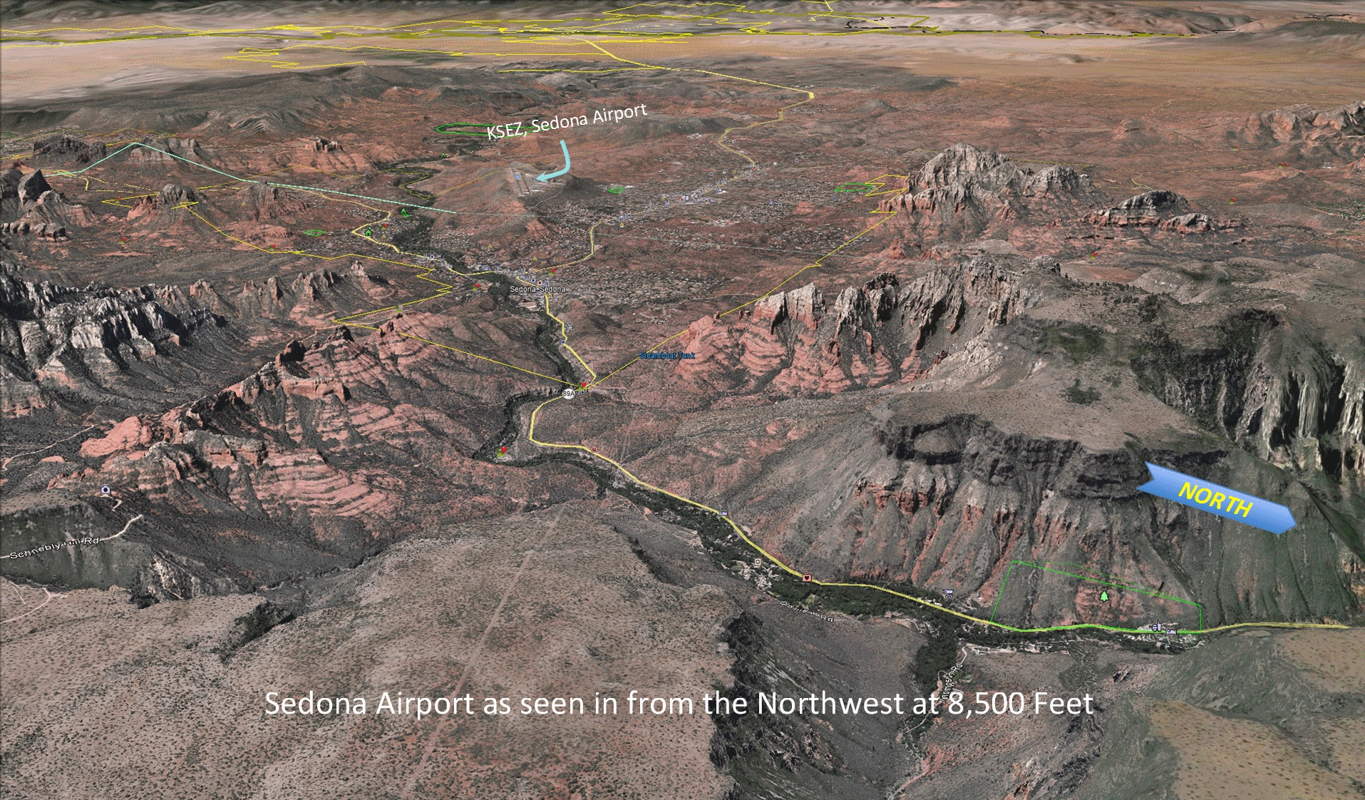 View of Airport Initial Approach from North - At Top of Oak Creek Canyon - KFLG in rear - CLICK to go to Visual Approach Techniques Information