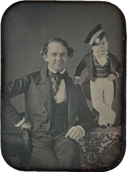 PT Barnum and General Tom Thumb by Root, c1850