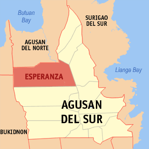 Map of Agusan del Sur showing the location of Esperanza