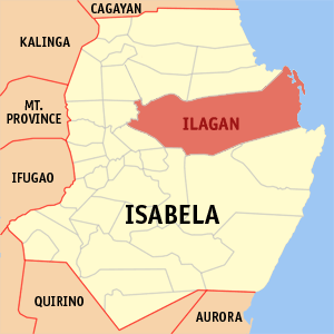 Map of Isabela showing the location of Ilagan