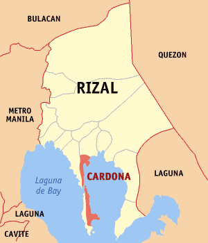 Map of Rizal showing the location of Cardona