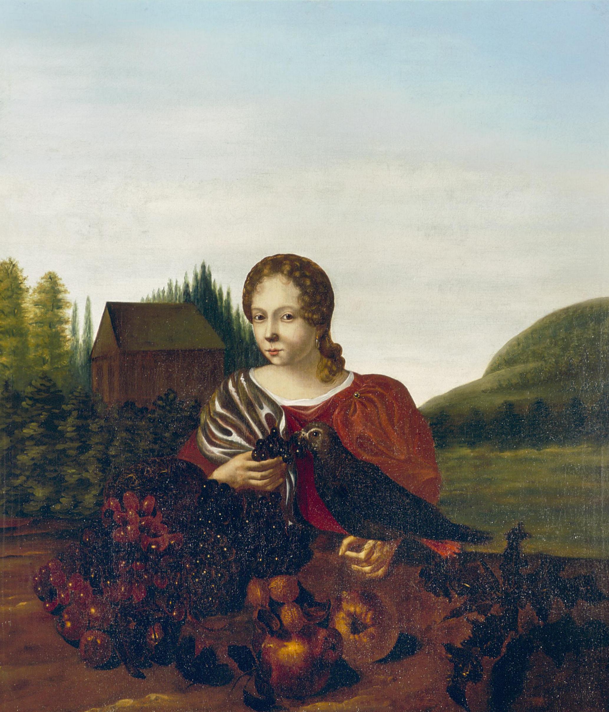 Bestandportret Van Een Jonge Vrouw Met Vogel Door Aleida Greve