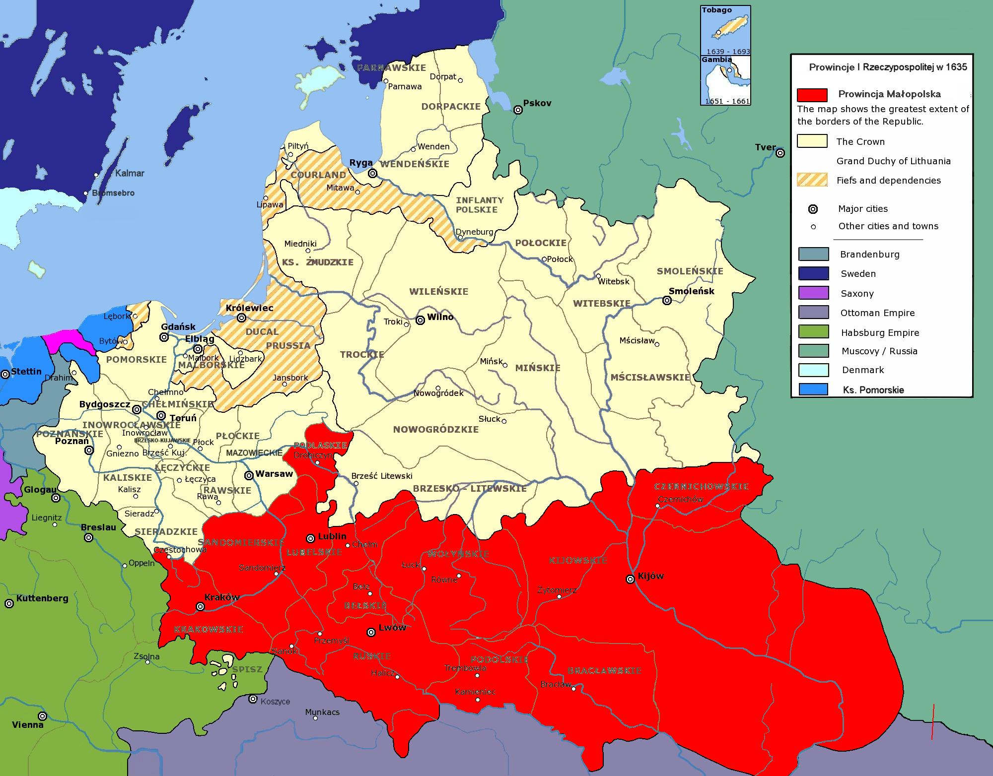 Województwo ruskie w składzie małopolskiej prowincji Korony Polskiej, 1635