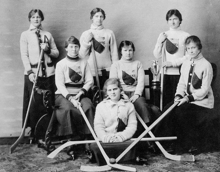 1917 Queen's University Women's Hockey Team with Wooden Hockey Sticks