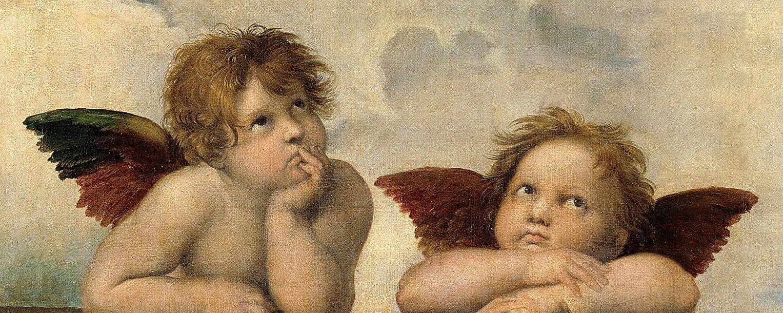 Schön:Die zwei Putten am unteren Bildrand von Raffaels Sixtinischer Madonna (Die Engel der Sixtina)