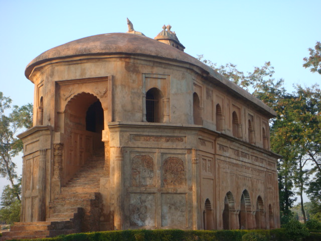 Rang Ghar, a pavilion built by Pramatta Singha (also Sunenpha; 1744 1751) in Ahom capital Rongpur, now Sibsagar; the Rang Ghar is one of the earliest pavilions of outdoor stadia in South Asia.