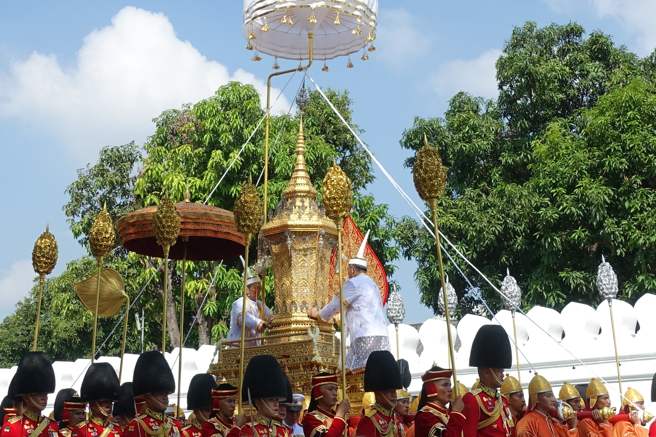 Royal urn of King Bhumibol Adulyadej in the first procession of the royal cremation ceremony.