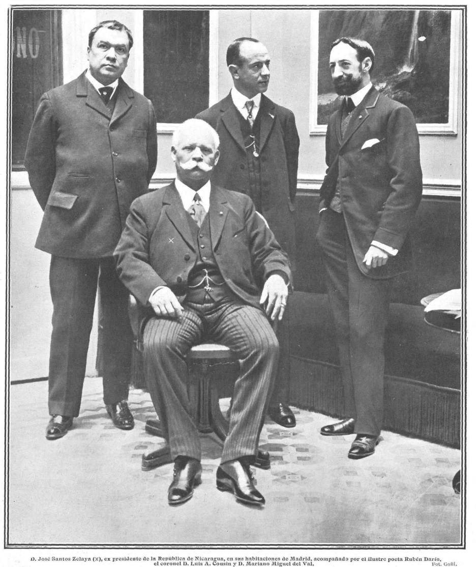 Rubén Darío (izquierda), con José Santos Zelaya (sentado), junto al coronel Luis A. Cousin y Mariano Miguel de Val en Madrid en 1910, por Goñi.