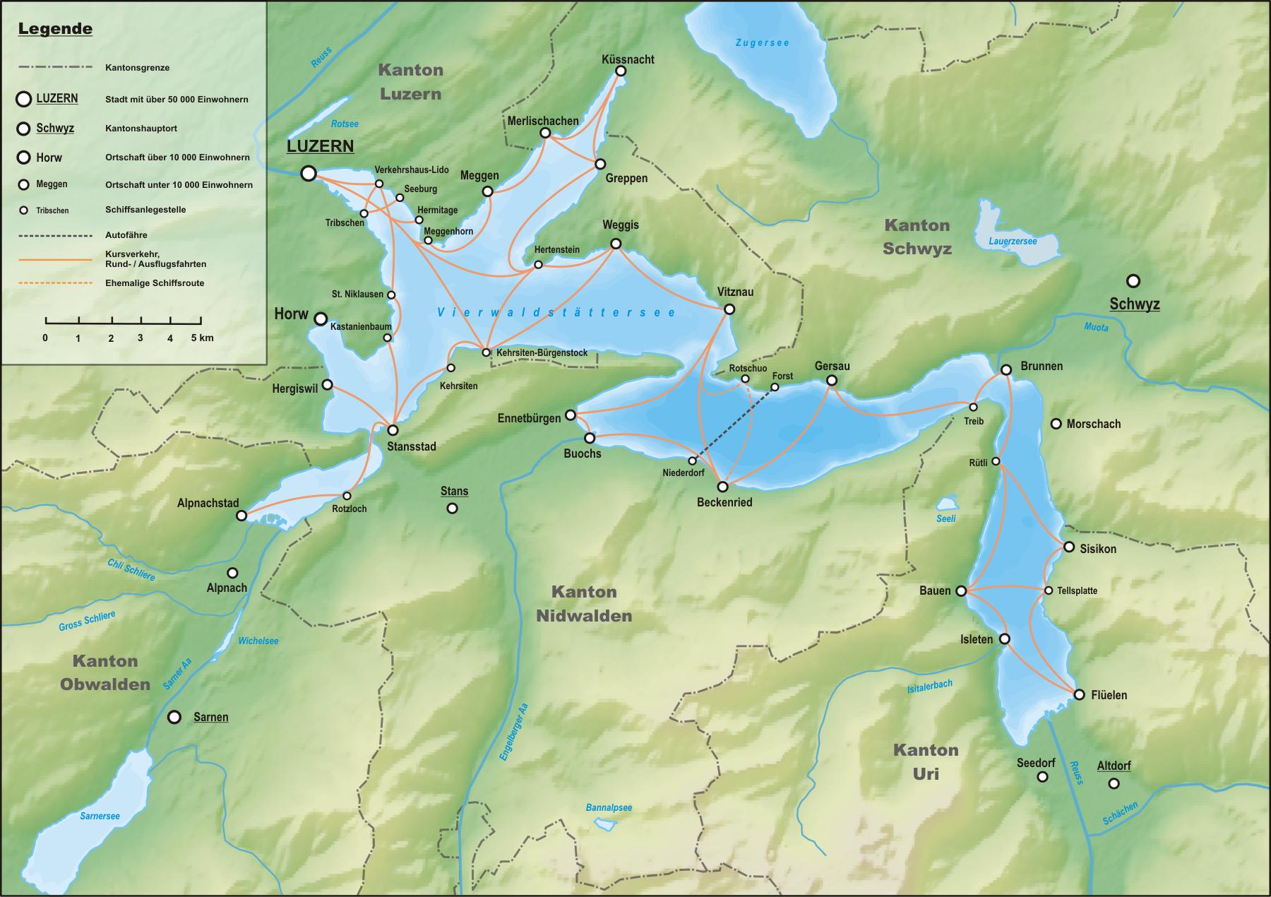 Маршруты круизов по Фирвальдштетскому озеру