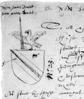 Shakespeare's coat of arms, as it appears on the rough draft of the application to grant a coat-of-arms to John Shakespeare. It features a spear as a pun on the family name.[e]