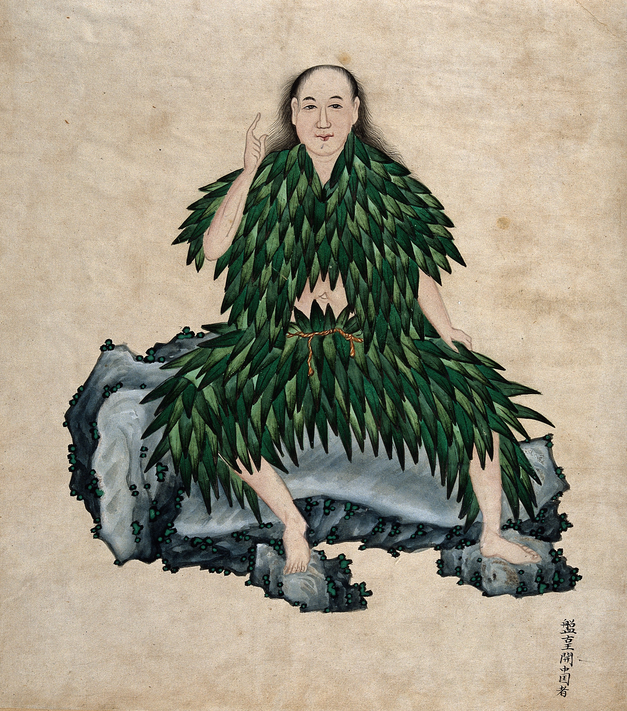 Shen Nung seated on a rock%2C wearing simple garments Wellcome V0018485 A incrível história de 10.000 anos que a humanidade compartilha com a cannabis