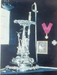 Sir Henry W Bruce silver plate and sword in Bruce Neuk at the Britannia Yacht Club.JPG