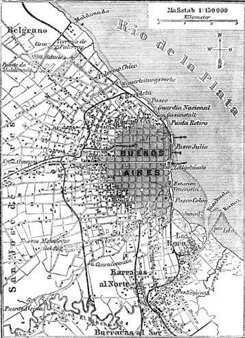 Mapa de la Ciudad de Buenos Aires en 1888. La infancia de Borges transcurrió en Palermo, un barrio que por aquella época se hallaba en los márgenes de la ciudad.