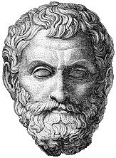 Tegning av hodet til en skjegget mann med uklart hår.