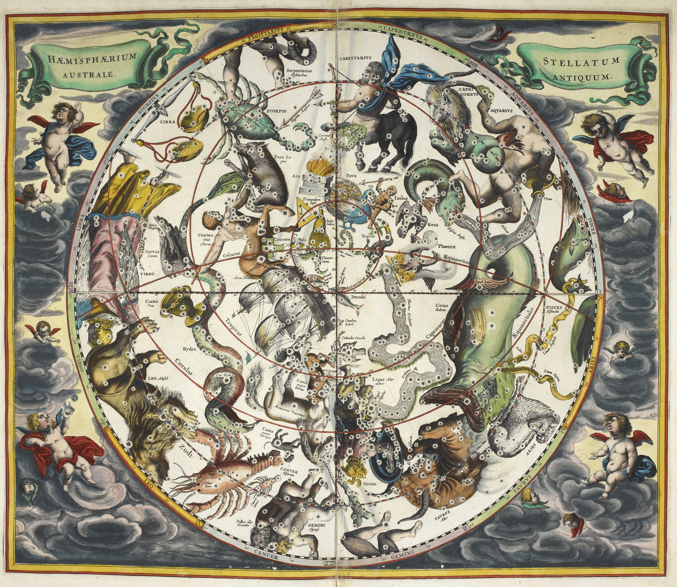 File:The constellations, with astrological signs of the zodiac - Atlas  Coelestis (1660