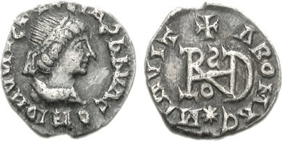 A coin of the Ostrogothic leader Theoderic the Great, struck in Milan, Italy, circa AD 491-501 Theoderic Quarter Siliqua 80000847.jpg
