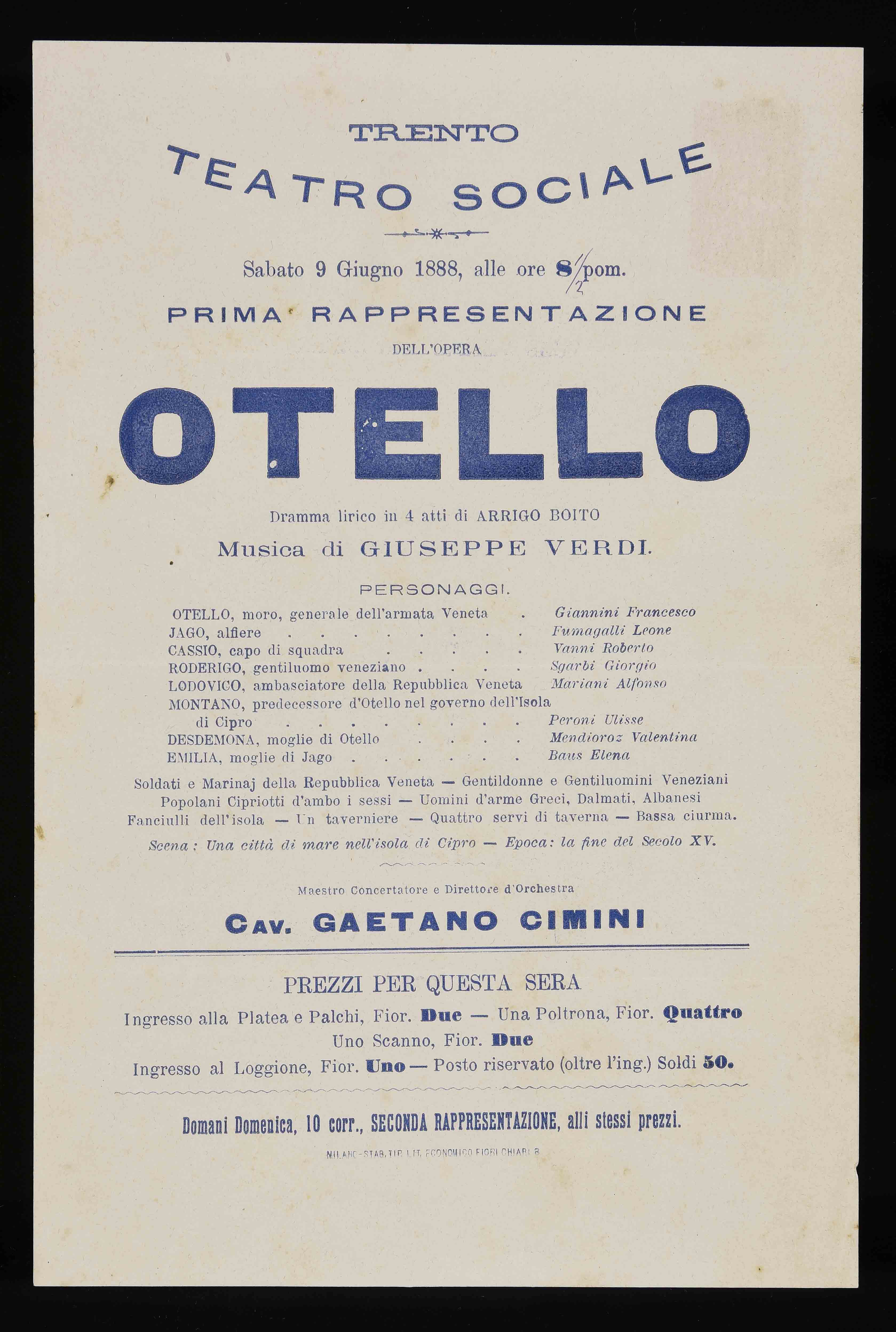 Fiori Chiari 9.File Trento Teatro Sociale Sabato 9 Giugno 1888 Alle Ore 8 Pom