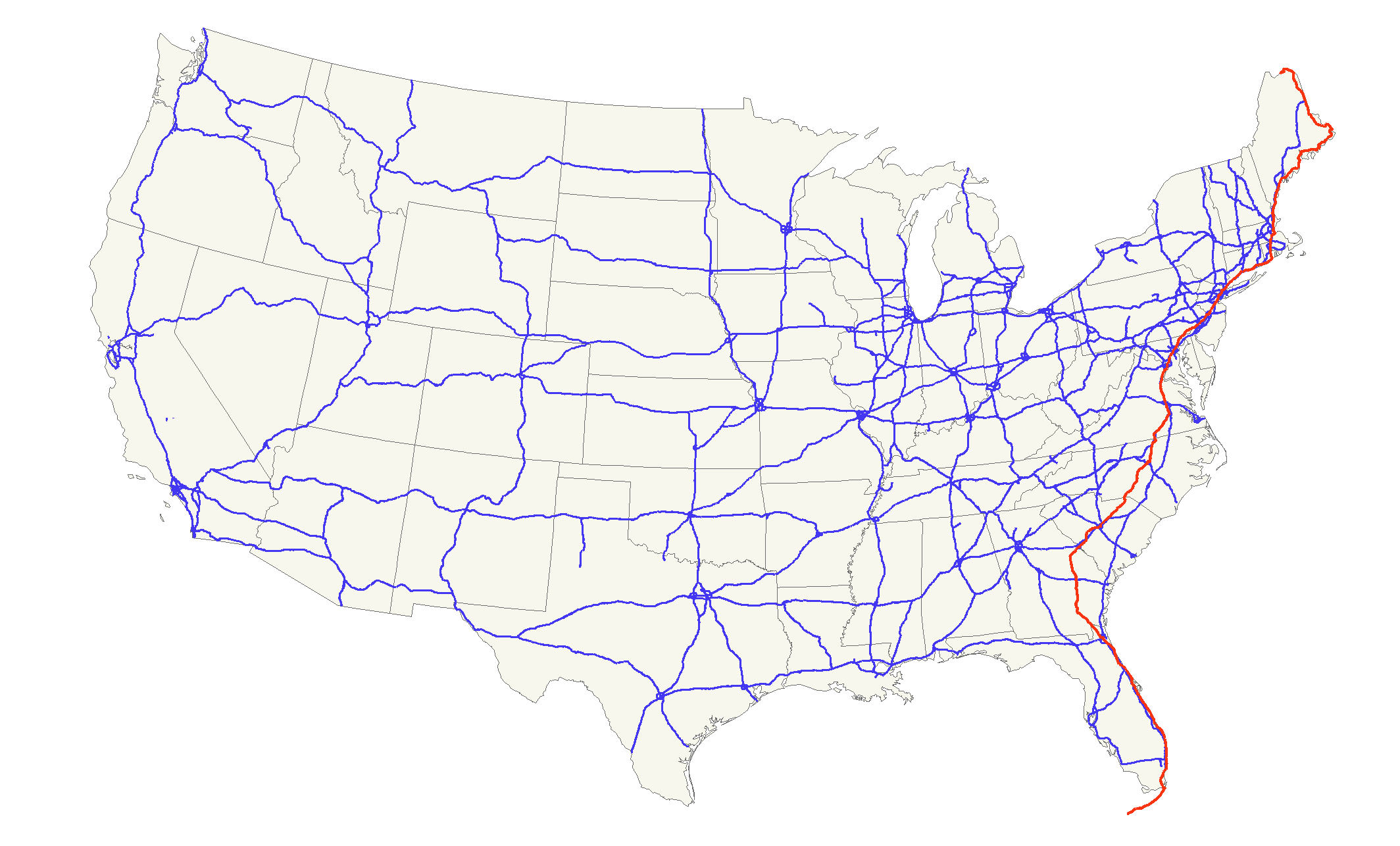 U.S. Route 1 - Wikipedia on newport on us map, juneau on us map, martha's vineyard on us map, madison on us map, mount vernon on us map, portsmouth on us map, naples on us map, panama city on us map, north platte on us map, roanoke on us map, walt disney world on us map, largo on us map, cancun on us map, columbia on us map, grand canyon national park on us map, orange county on us map, cabo san lucas on us map, sioux falls on us map, hudson on us map, saint augustine on us map,