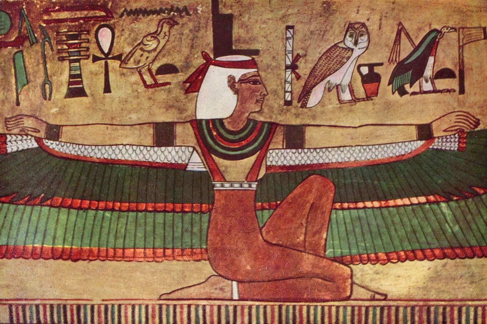 La diosa Isis. Pintura mural entre 1380 y 1335 a. C. Museo de Karnak. Imagen de Wikimedia Commons.