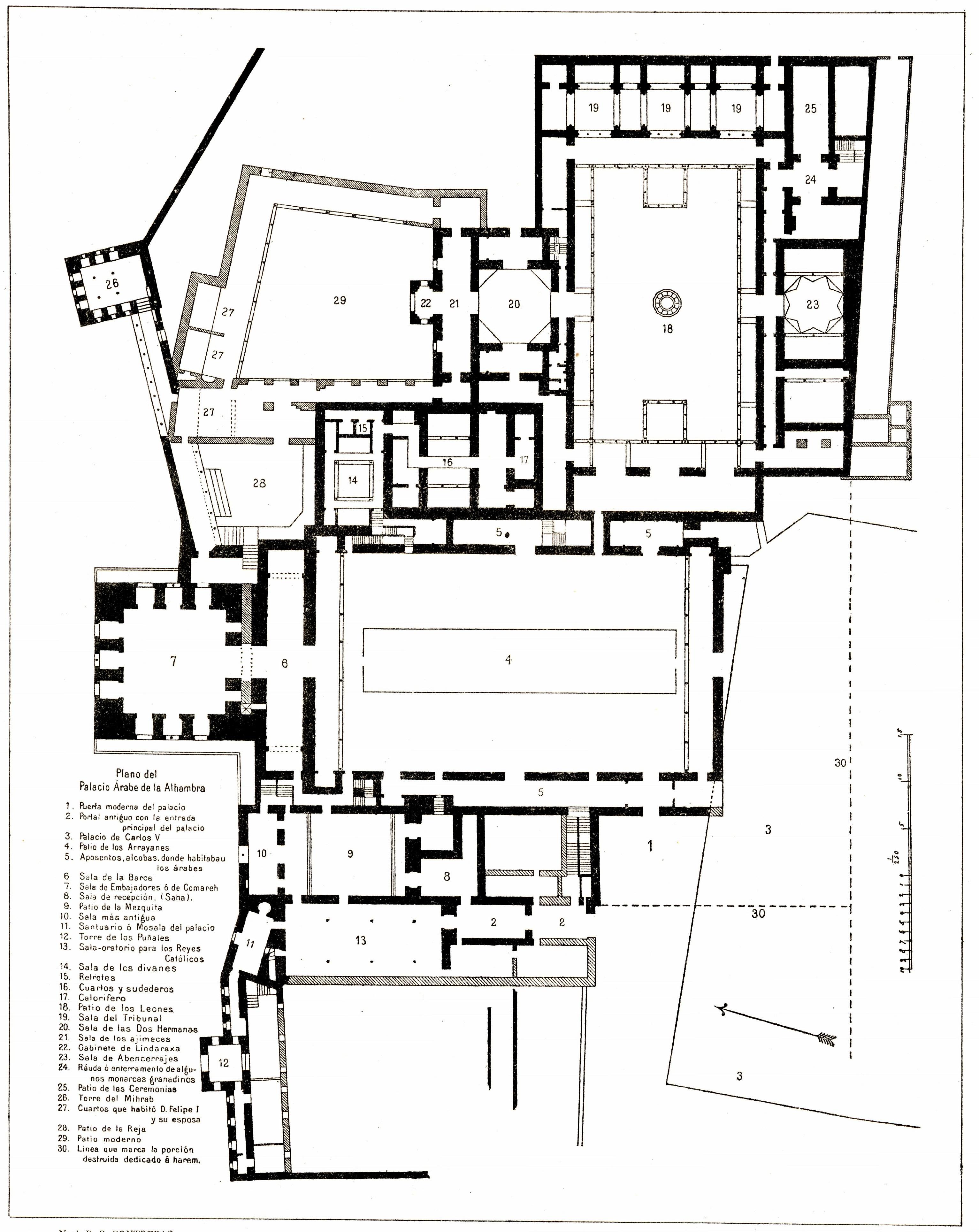 File 116 tafel 6 grenada alhambra plano del palacio for Palatial home designs