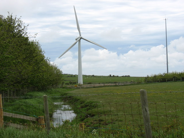 File:A wind turbine, radio aerial and stream at the Llyn Alaw Wind Farm - geograph.org.uk - 1317786.jpg