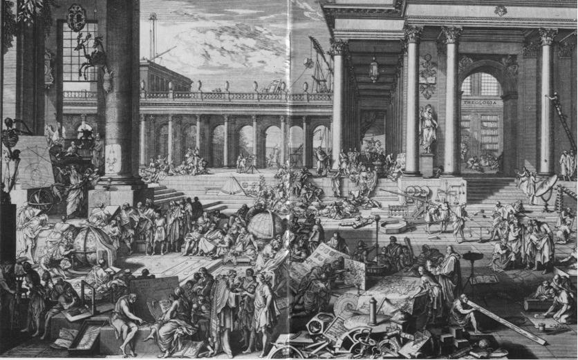 A heroic depiction of the activities of the Academy from 1698