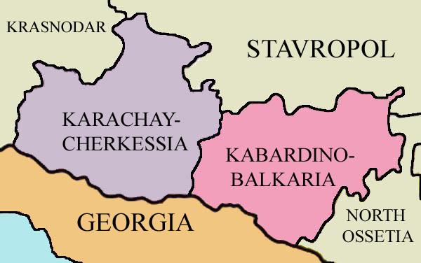 カラチャイ=チュルケス共和国周辺の略地図