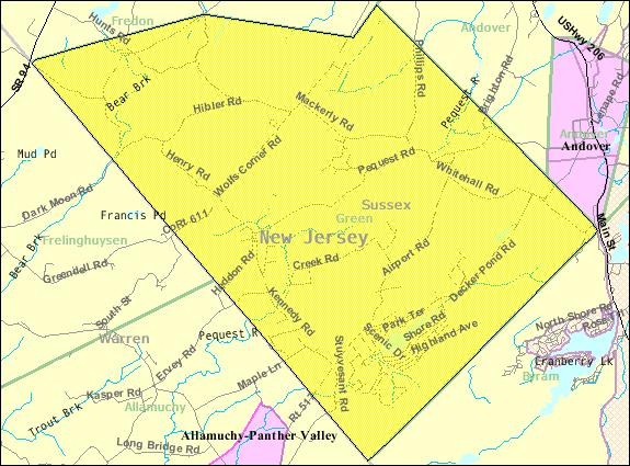 Census Bureau map of Green Township, New Jersey