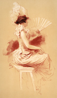 Cheret, Jules - Woman with Fan (lithograph, 1896)