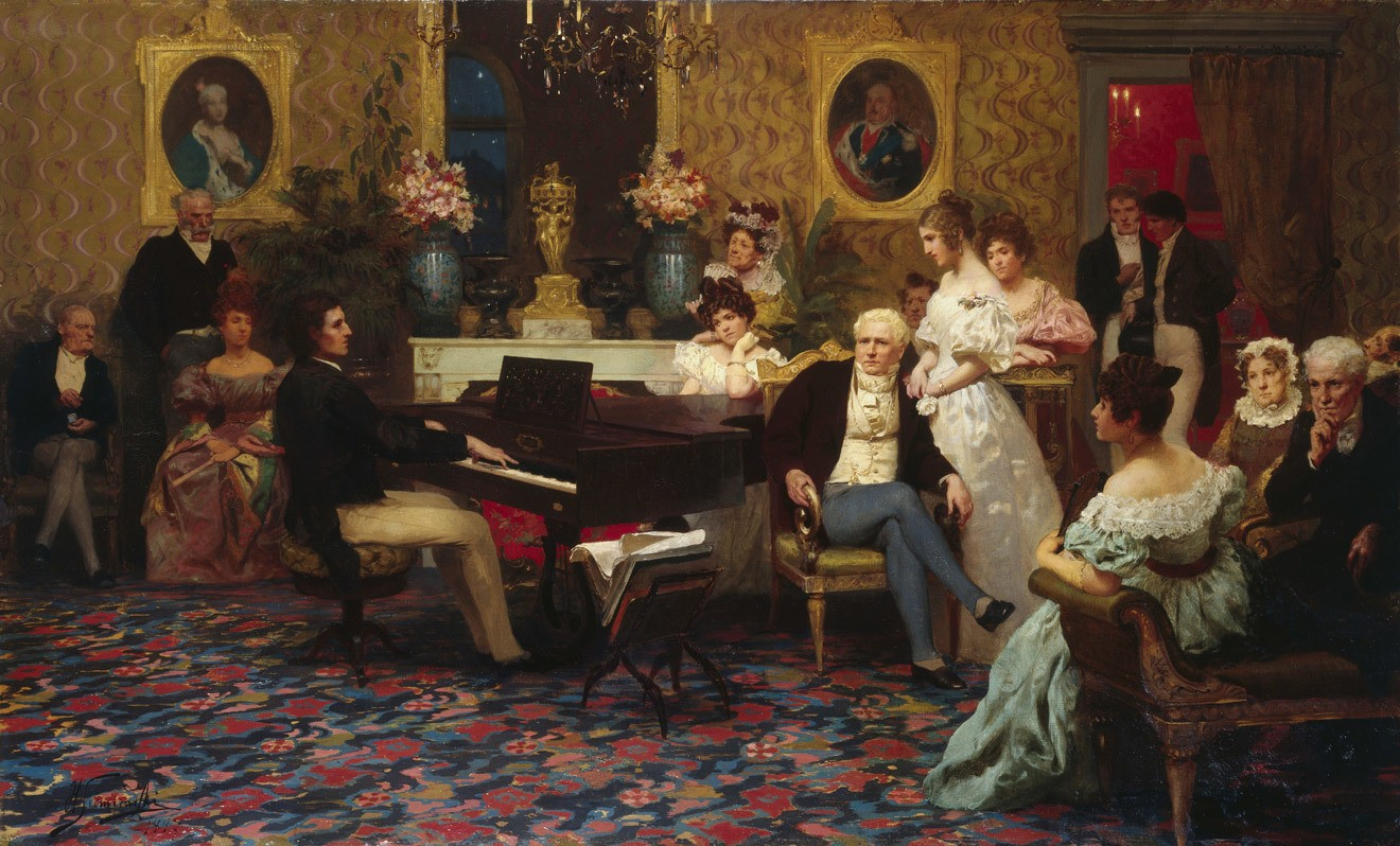 Chopin tocando frente a la familia aristocrática de los Radziwiłł.
