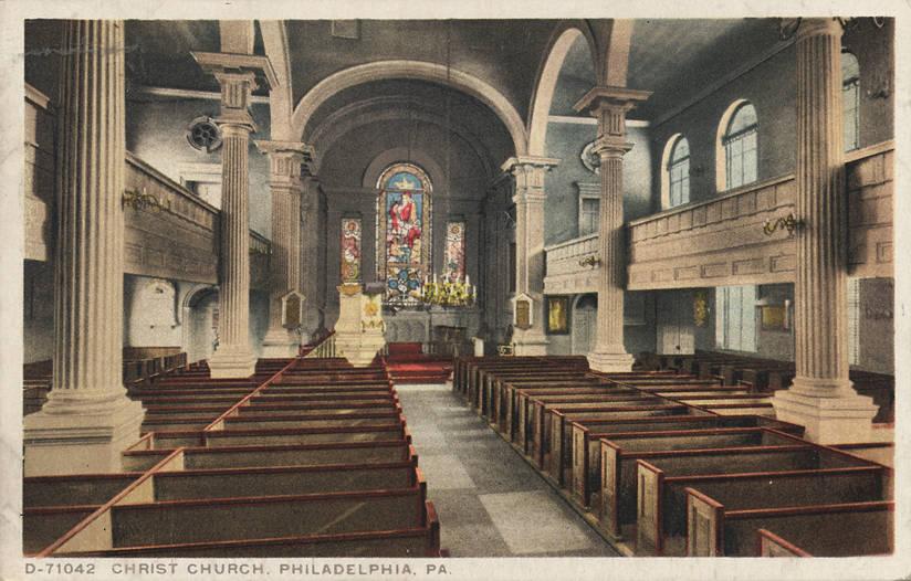 Old souvenir postcard of Christ Church's interior