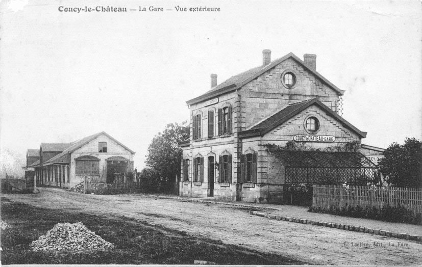 First train station in Coucy-le-Château (Aisne, France) before the first world war