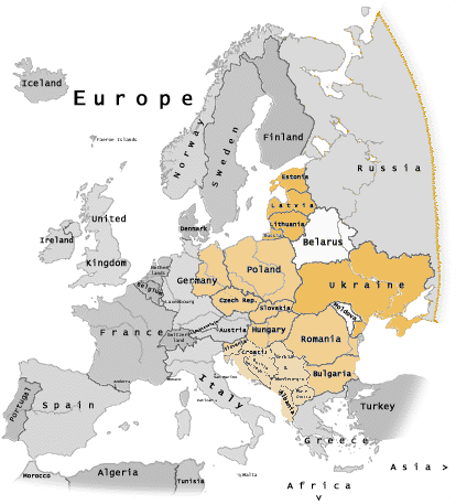 hvilke lande er i europa