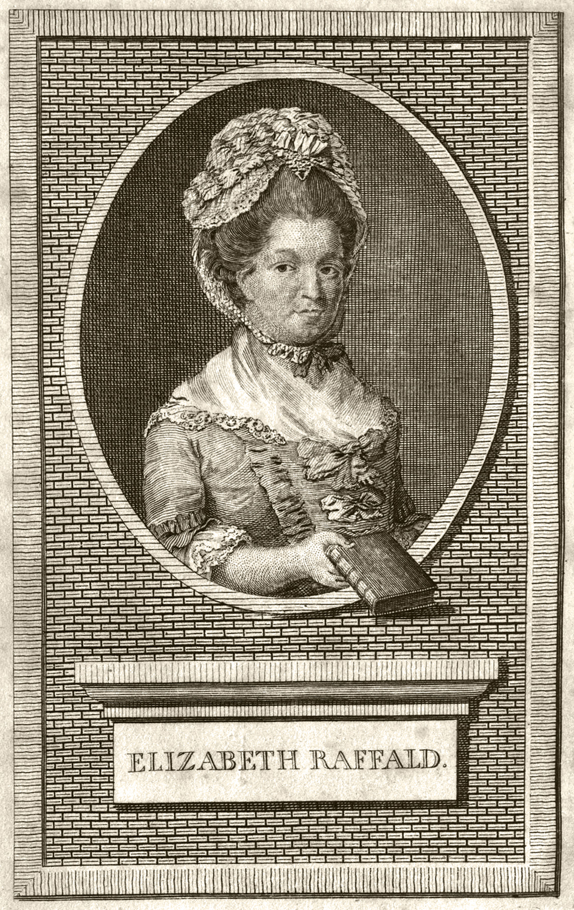 Engraving of Elizabeth Raffald, from the 1782 edition of her cookery book