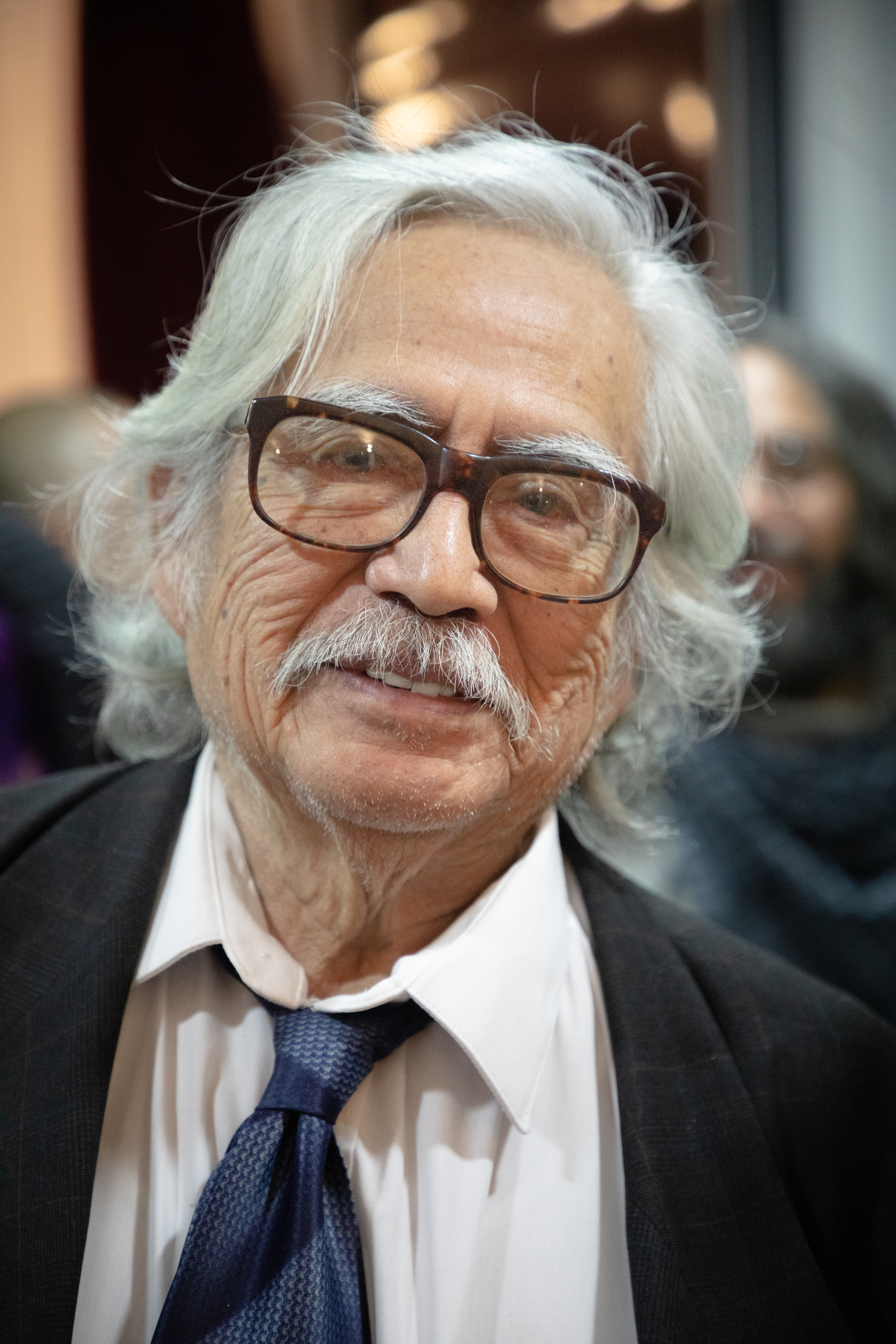 Portrait of the Mexican actor Ernesto Gómez Cruz during the reopening of the theater that bears his name in Tlatelolco. 2019