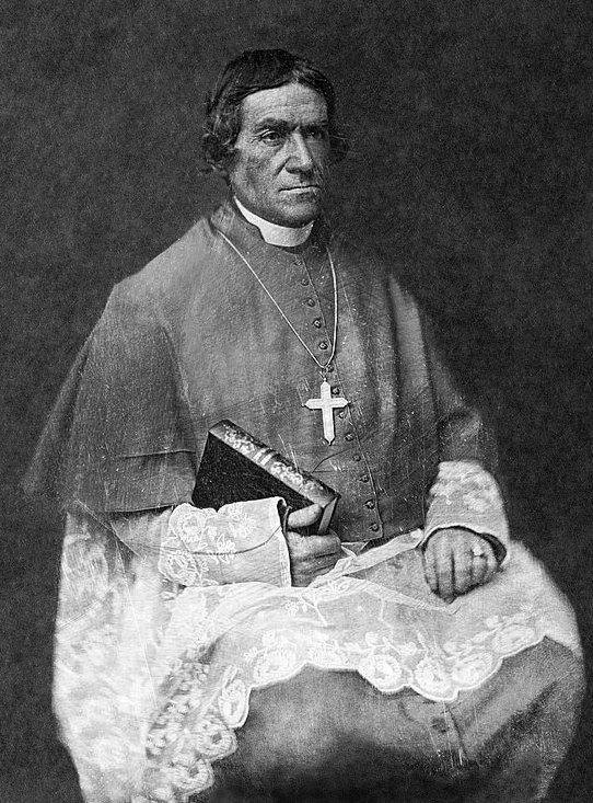 Bishop Frederic Baraga, three-quarter length portrait, facing three-quarters to right, seated, in clerical robes, holding his Dictionary of the Otchipwe Language, courtesy of wikipedia