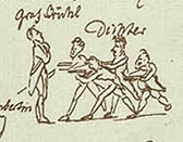 Brühl als Intendant auf dem Kunzschen Riss von E. T. A. Hoffmann (Quelle: Wikimedia)