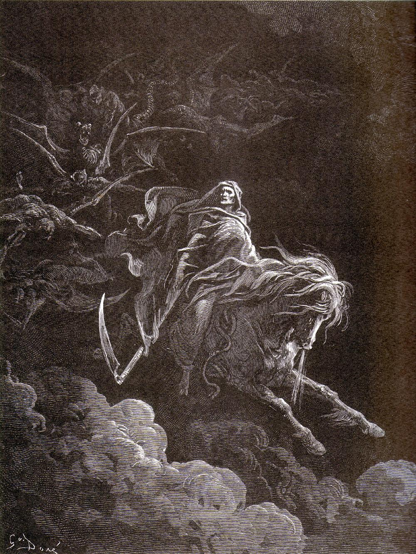 Le quatrième cavalier de l'Apocalypse, Mort, sur le cheval pâle - Gravure de Gustave Doré (1865).
