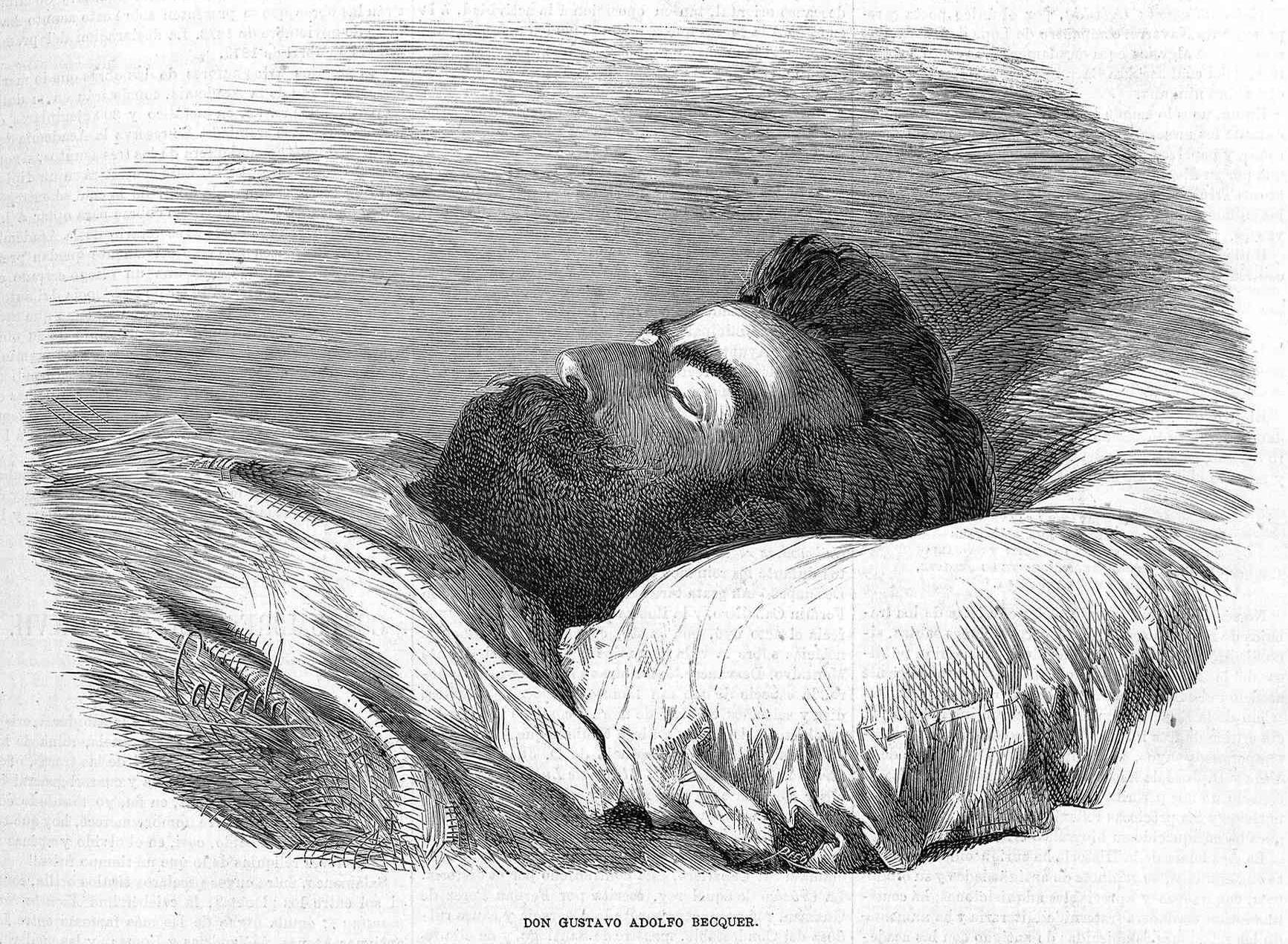 Bécquer en su lecho de muerte, dibujo de José Casado del Alisal en La Ilustración de Madrid.
