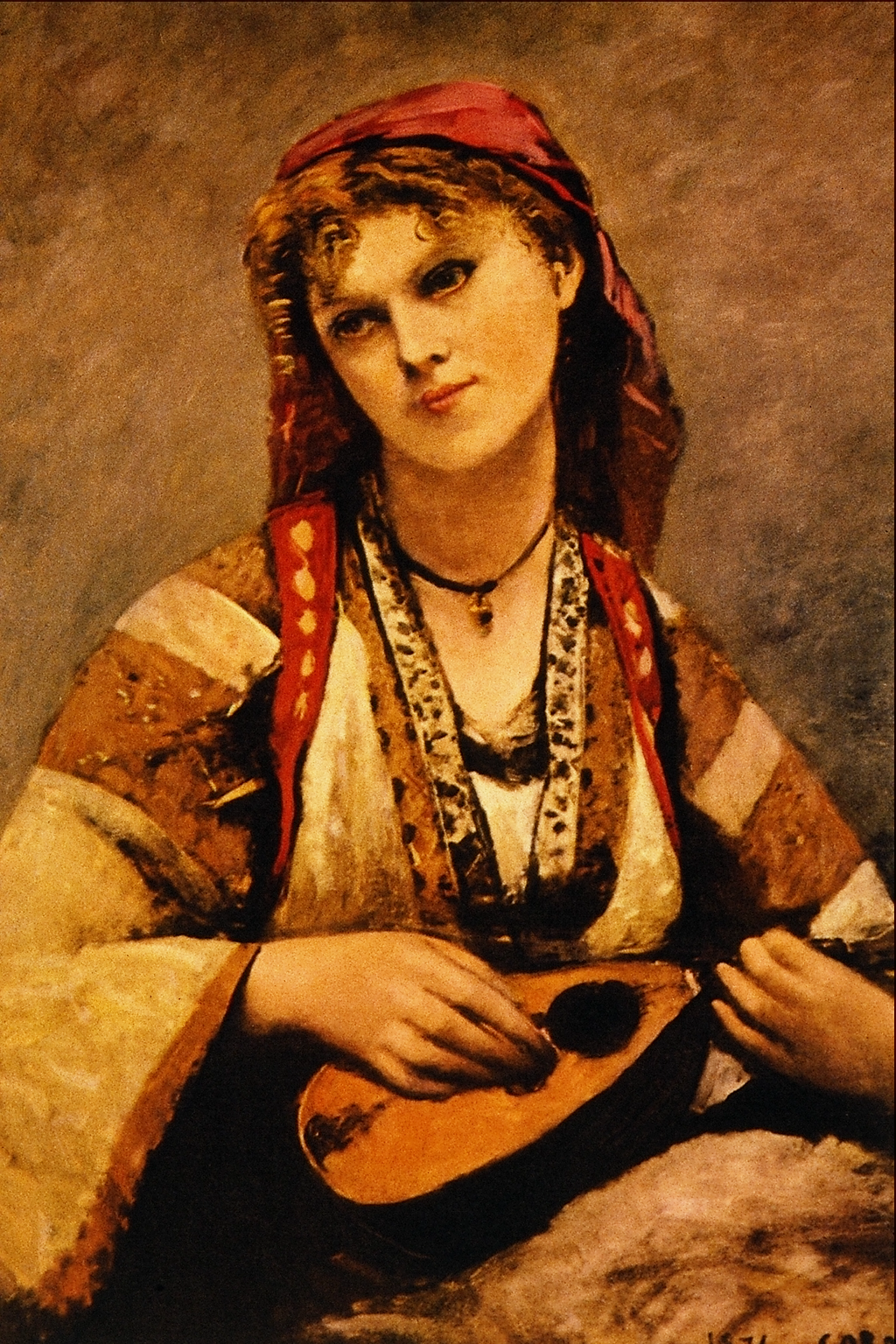 File:Gypsy with a Mandolin - Jean Baptiste Camille Corot png