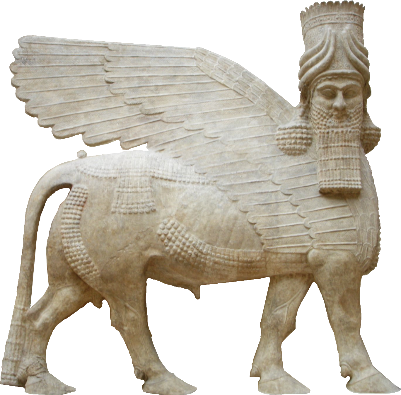 "the winged human headed bull In the assyrian mythology there were human headed winged bulls/lions that were protective genies ""lamassu (bull-man)"" – livius october 22, 2004."
