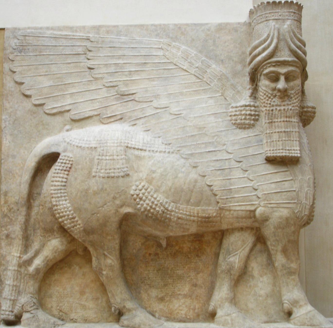 Human-headed winged bull and winged lion (lamassu)