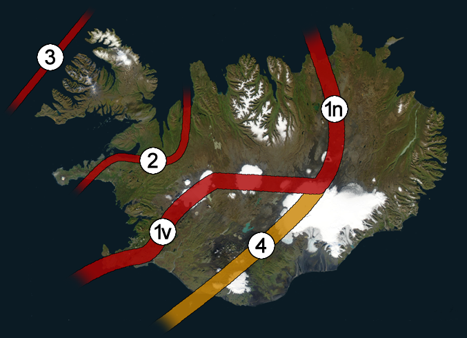 The Western Rift Zone (1v) and Northern Rift Zone (1n) are active today. The Eastern Volcanic Zone (4) is starting to become more active. The Westfjords Rift Zone (3) was active until about 15 million years ago, when the rift migrated to the Snaefellsnes-Skagi Rift Zone (2). The Snaefellsnes-Skagi Rift Zone was active until about 7 million years ago, when the rift reorganized into the present-day configuration.