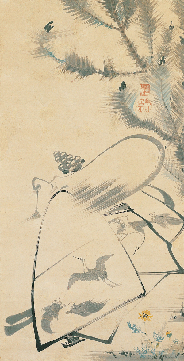 Ito Jakuchu, Japanese, Fukurojin (Fukurokuju), the God of Longevity and Wisdom, c. 1790, Japan, Edo period (1617?1868), Hanging scroll; ink and light colors on paper, Kimbell Art Museum.jpg