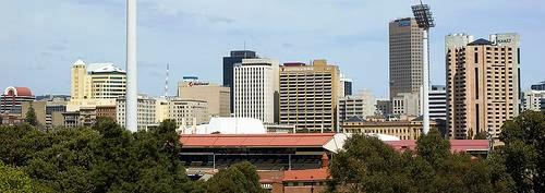 View of Adelaide's city skyline, with Adelaide Oval in the foreground