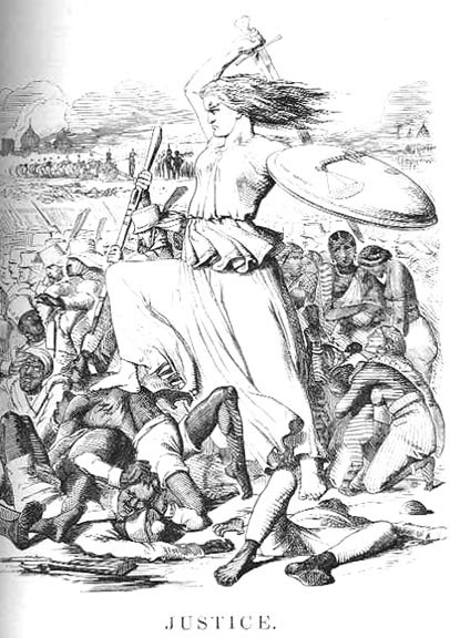 Justice, a print by Sir John Tenniel in a September 1857 issue of Punch - Indian Rebellion of 1857