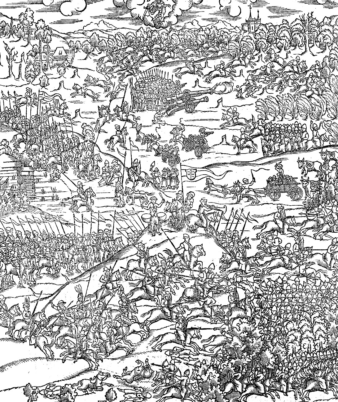 Engraving of a Lithuanian battle against the Tatars (16th century).
