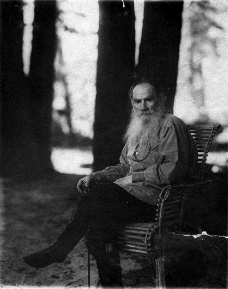"Tolstoy on 23 May 1908 at [[Yasnaya Polyana]], four months before his 80th birthday.<ref>""[http://www.tolstoy-studies-journal.com/tolstoy-in-color Tolstoy in Color],"" ''Tolstoy Studies Journal,'' a publication of the Tolstoy Society of North America, n.d. Retrieved 27 June 2018.</ref>"