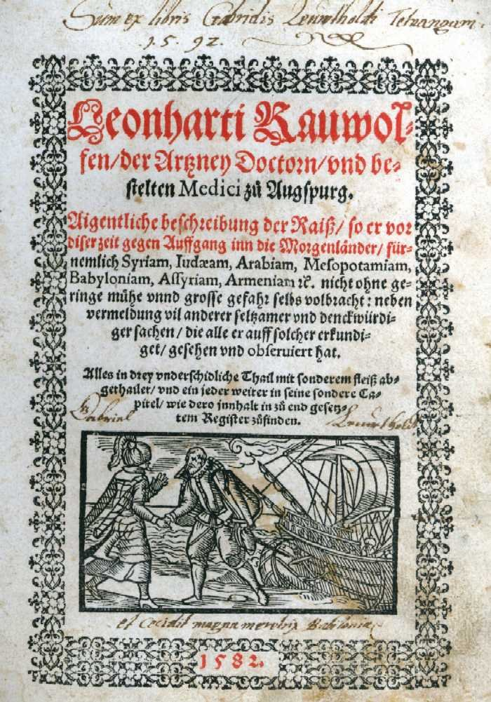 The front page of Rauwolff's travel book dated 1582