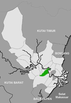 Peta lokasi kecamatan Tenggarong